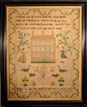 A very good eighteenth century Pennsylvania house sampler worked by Mary Fentun (Fenton) at the age of nine in 1789.