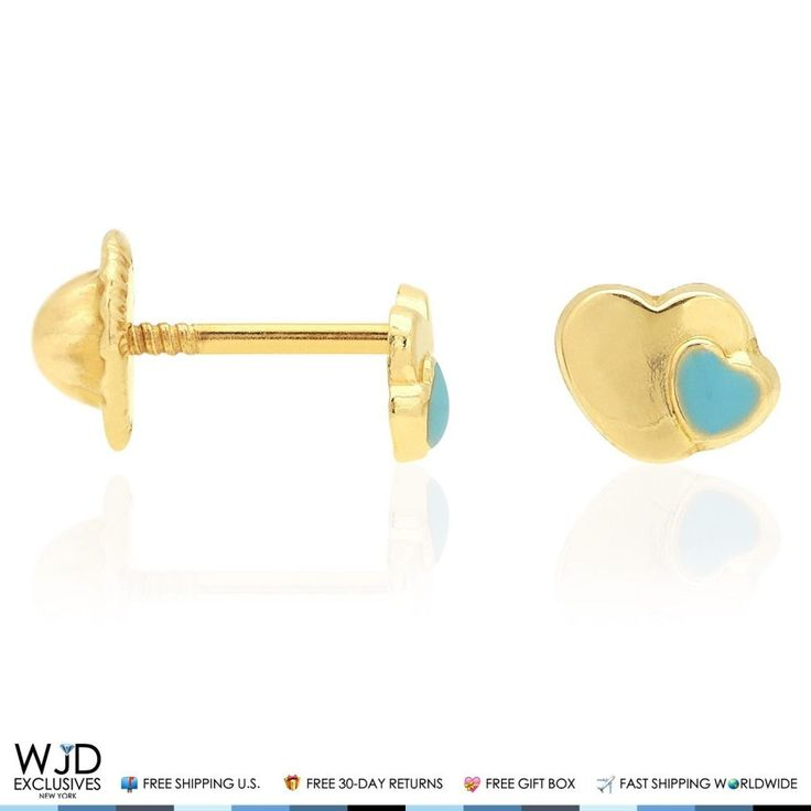 These adorable earrings are designed as sky blue enamel hearts craftedin 14K solid yellow gold and safely secured with comfortable babyscrew back closure for a perfect fit. Product Specifics   Metal 14k Yellow Gold   Style Blue Enamel Heart Baby Screwback Stud Kids Earrings   Finish High P...