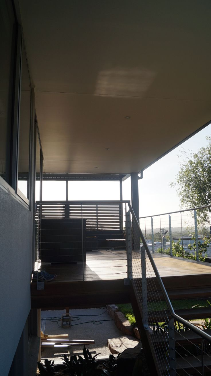 looking up deck to new privacy slat area