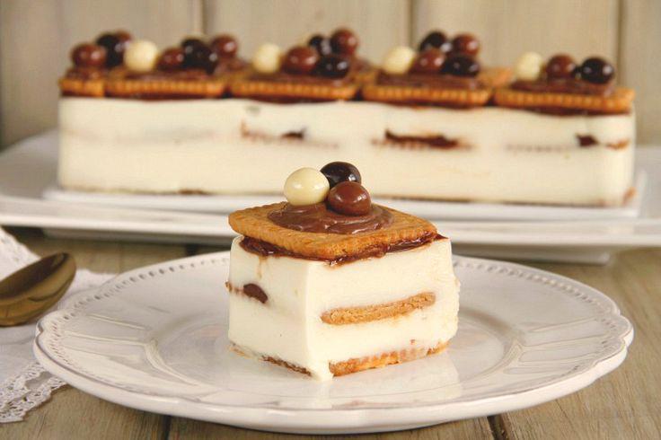 Tarta de galletas y crema de chocolate blanco - Thermomix