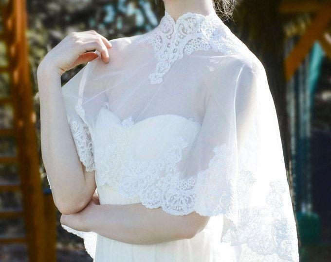Ivory white wedding shawl, Wedding cover up, wedding lace cape, bridal cape, wedding shrug, bridal shawl
