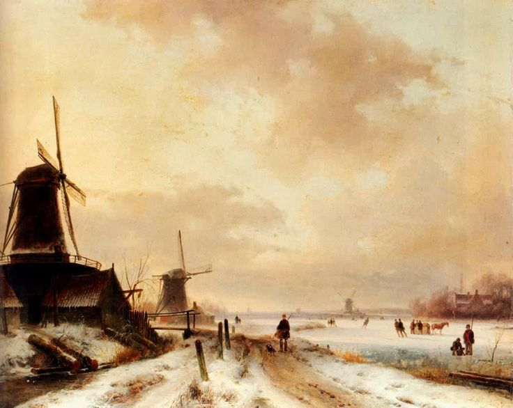 Andreas Schelfhout - Winter. A huntsman passing woodmills on a snowy track, skaters on a frozen river