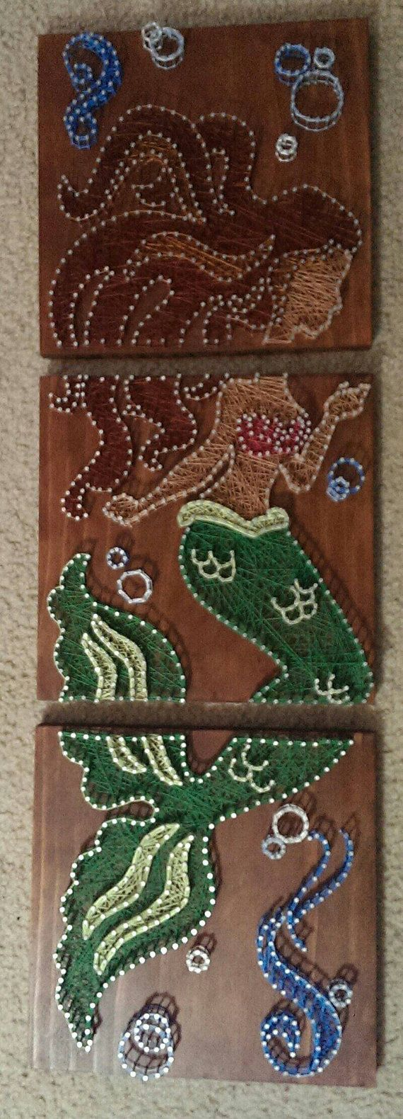 3 Panel Mermaid Nail and String Art by brokenwingArts on Etsy