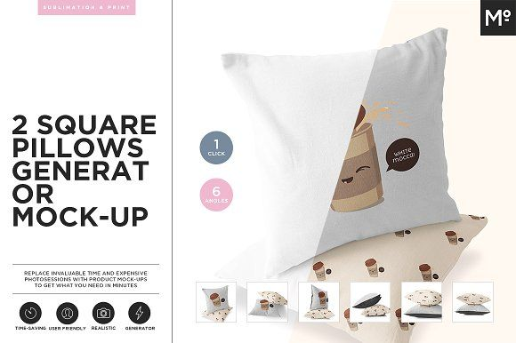 2 Square Pillows Generator Mock-up by Mocca2Go/mesmeriseme on @creativemarket