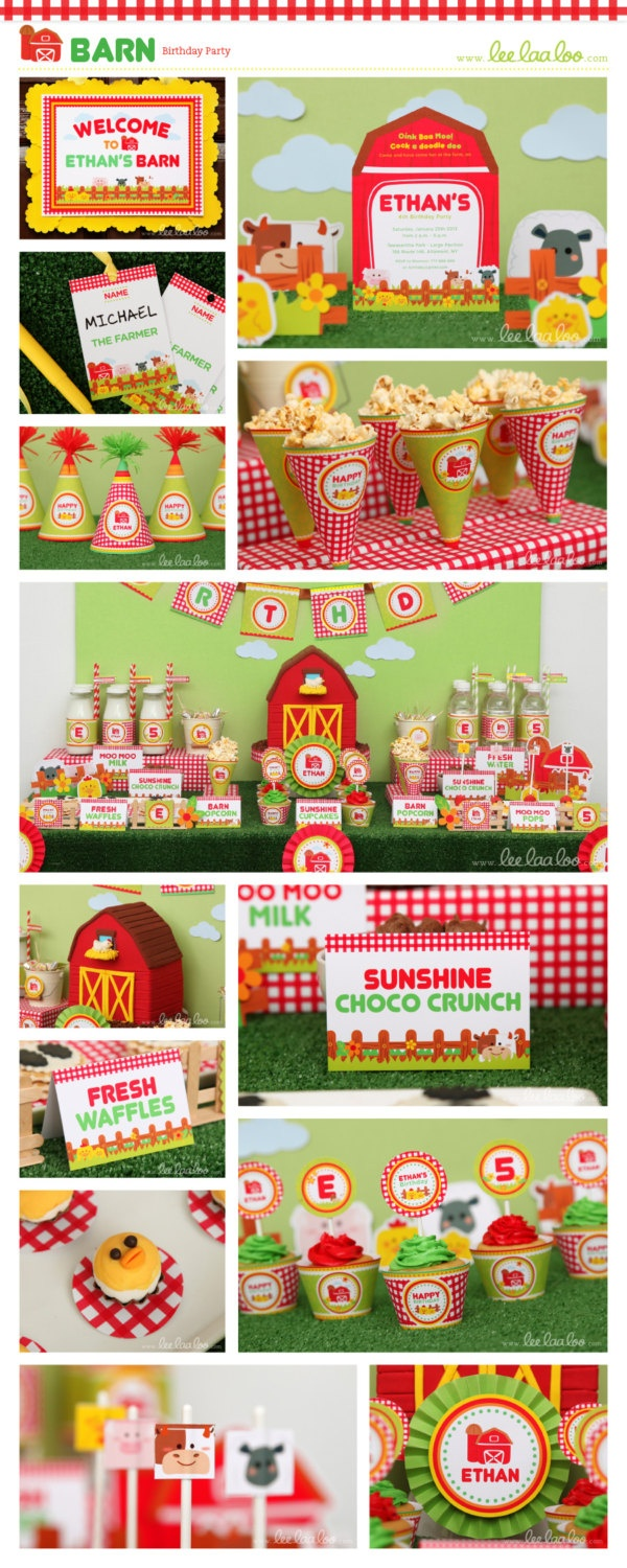 Barn Birthday Party Package Personalized Printable Design by leelaaloo.com