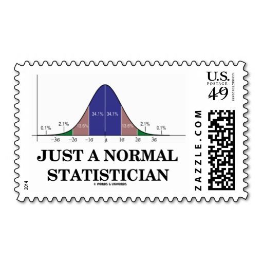 "Just A Normal Statistician (Bell Curve Humor) Postage Stamp #justanormal #statistician #bellcurve #stats #statistics #normaldistributioncurve #geek #humor #wordsandunwords  Showcase your wry statistical side the next time you send correspondence with this stamp featuring the bell curve distribution along with the caption ""Just A Normal Statistician""."