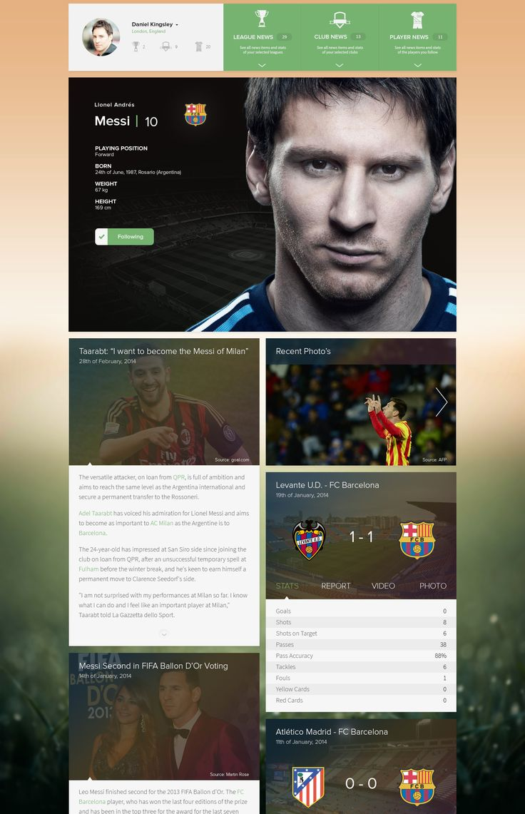 Personalized soccer news long page