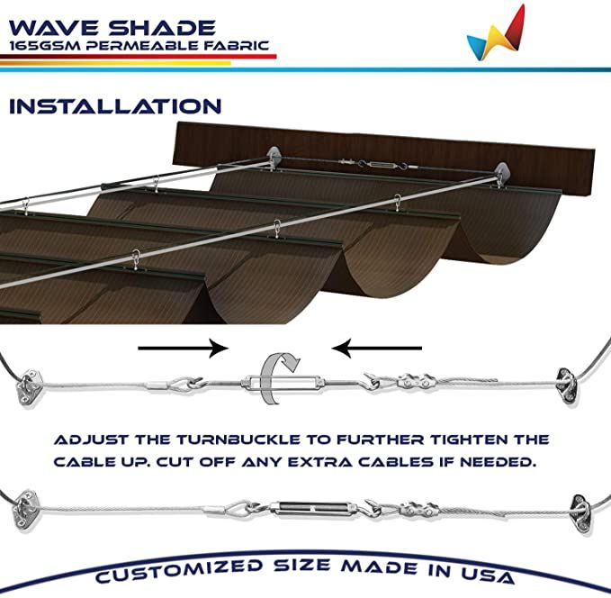 Amazon Com Windscreen4less Retractable Shade Canopy Replacement Cover For Pergola Frame Slide On Wire Cable Wave Drop In 2020 Shade Sail Retractable Shade Shade Cover