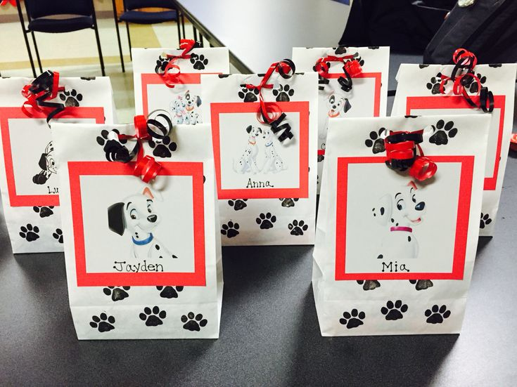101 Dalmatians birthday party treat bags