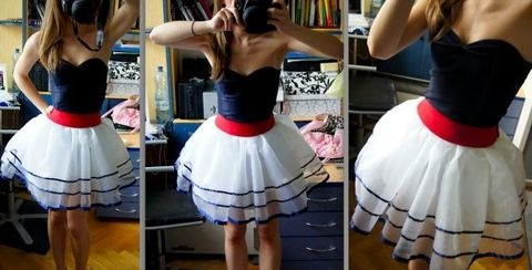 nautical diy dress....I might have to pay someone to make it for me haha but....I want this!  This is perfect!!