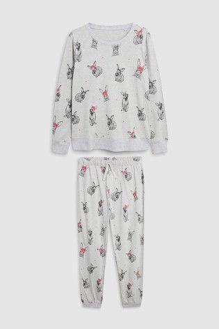 5382042b1d896 Grey Christmas Bunny Pyjamas With Ribbon Wrapping