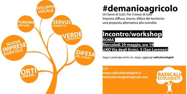 #demanioagricolo - Incontro/workshop 29 Maggio a Roma
