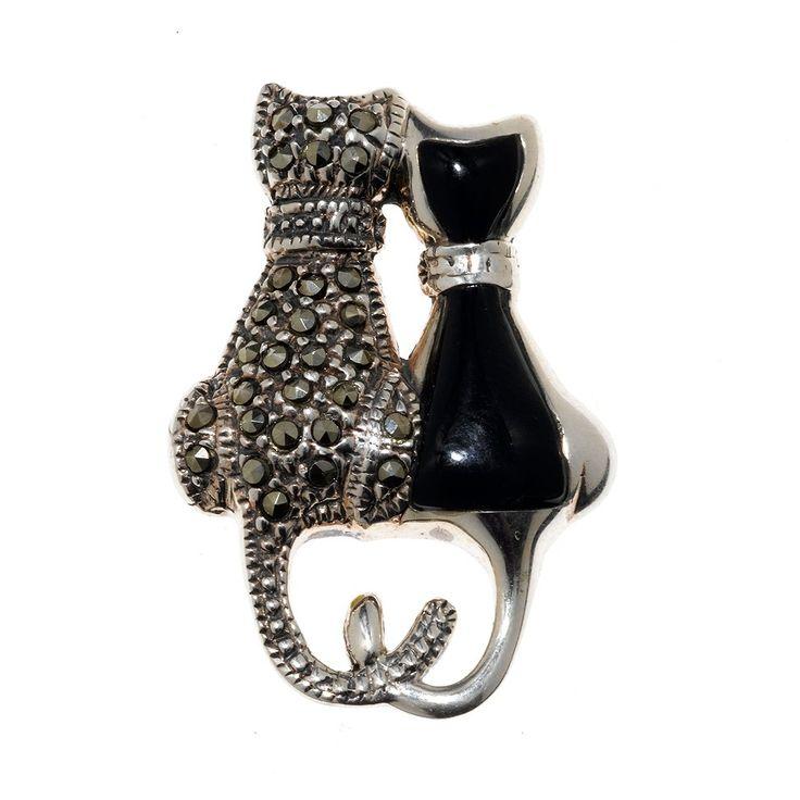 #brochevintage. Broche plata gatos marquesita ónix no os perece monísimo?