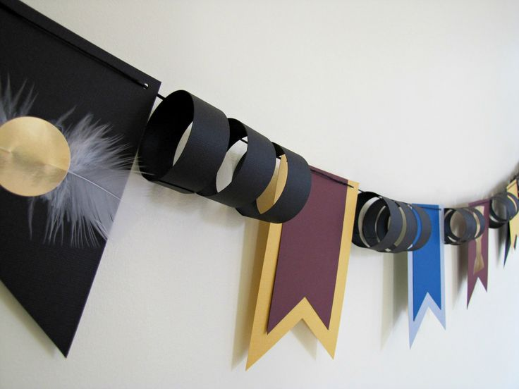 DIY this. Harry Potter Paper Bunting Flags, Quidditch Cup Birthday Banner by Kiwi Tini Creations. $18.00, via Etsy.