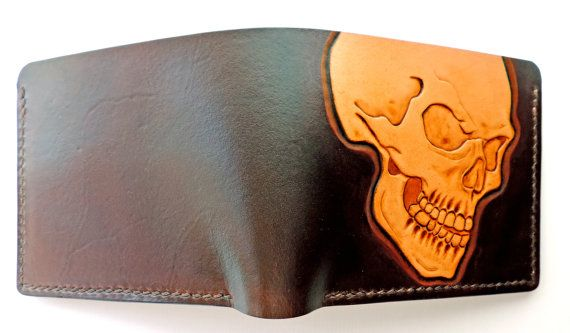Hand tooled leather wallet skull by AnaMariaGruiaART on Etsy