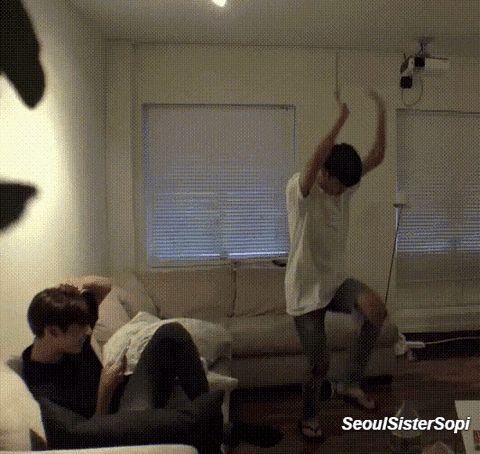 Jimin's stupid dancing makes Jungkook laugh.