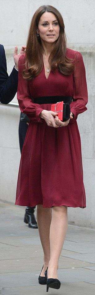Catherine, Duchess of Cambridge in her favorite high street label Whistles dress.