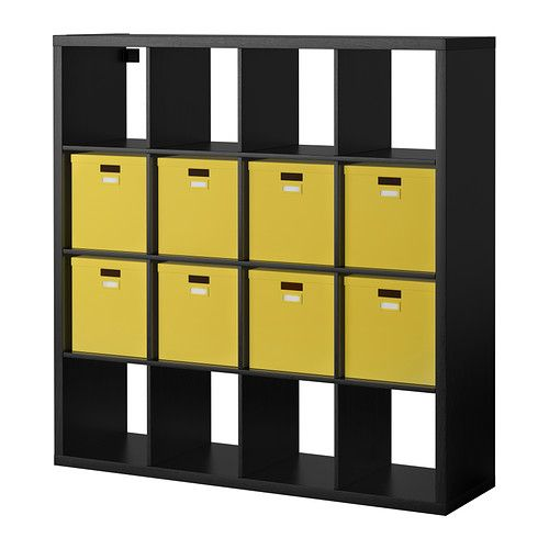 KALLAX/TJENA Shelf unit with 8 inserts - black-brown ...