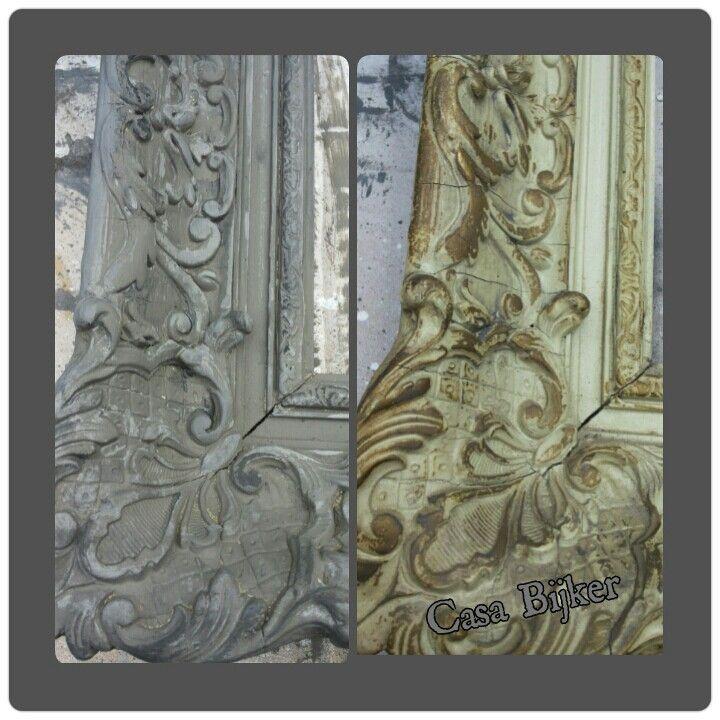 Antieke lijst bewerkt met 3 kleuren krijt verf en schoenpoets.