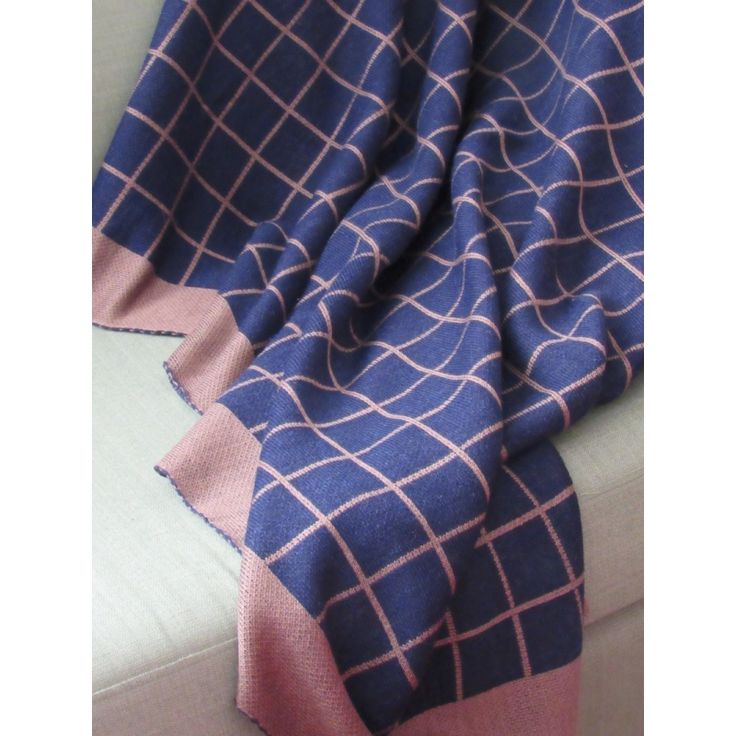 Plaid Knit Throw - Blue - Sofa Blanket - Check Throw - Baby Blanket