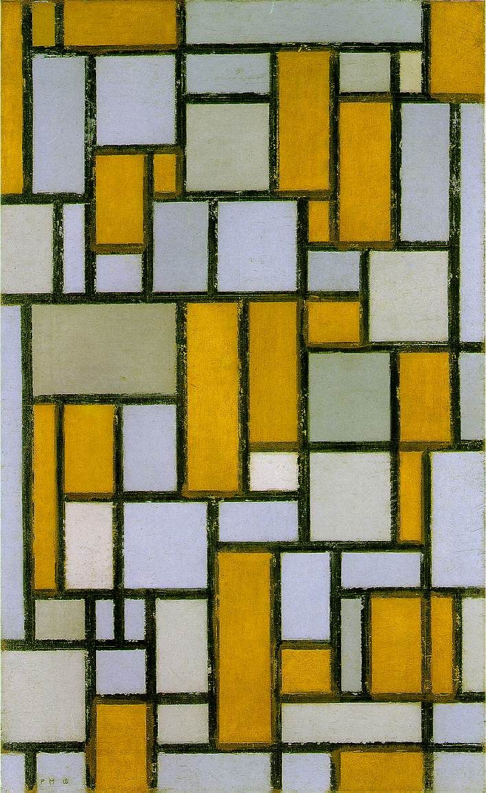Composition with gray and light brown 1918 - by Piet Mondrian