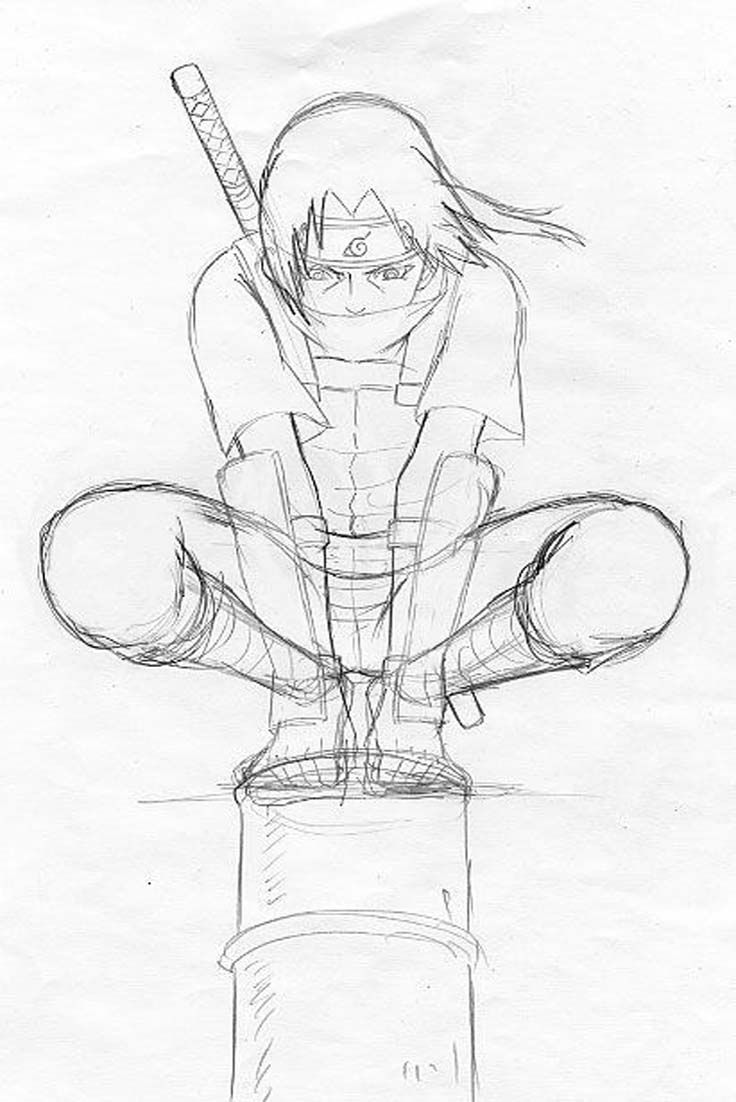Drawing Comics Itachi Olhando Sua Vila Anime Sketch Naruto