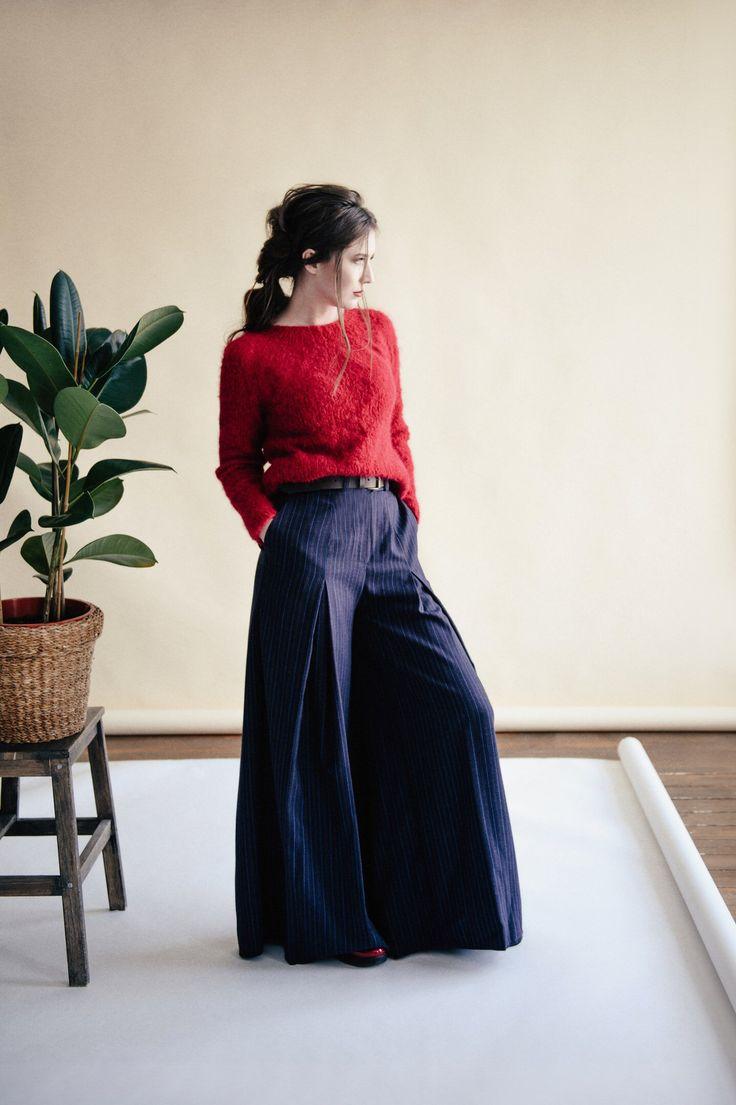 Wool slacks by Saif2Clo. Season Spring'17. Широкие брюки из шерсти от бренда Saif2Clo. Сезон Весна'17.