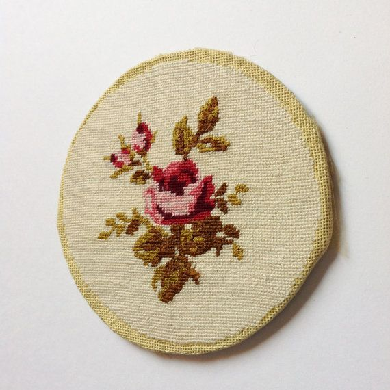 R Antique French Floral Needle point petits Rose 50s