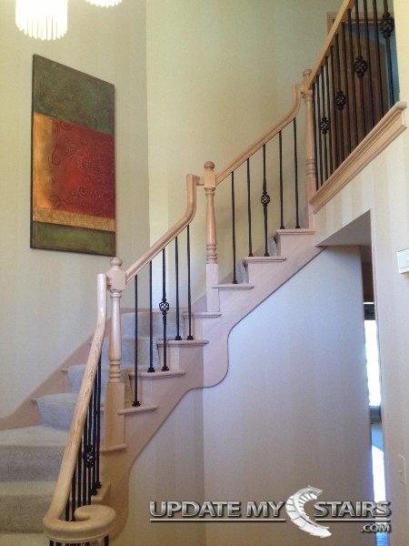 Beautiful Black Iron Baskets Installed By Update My Stairs Inc. Wood  StairsStair RailingWood ...