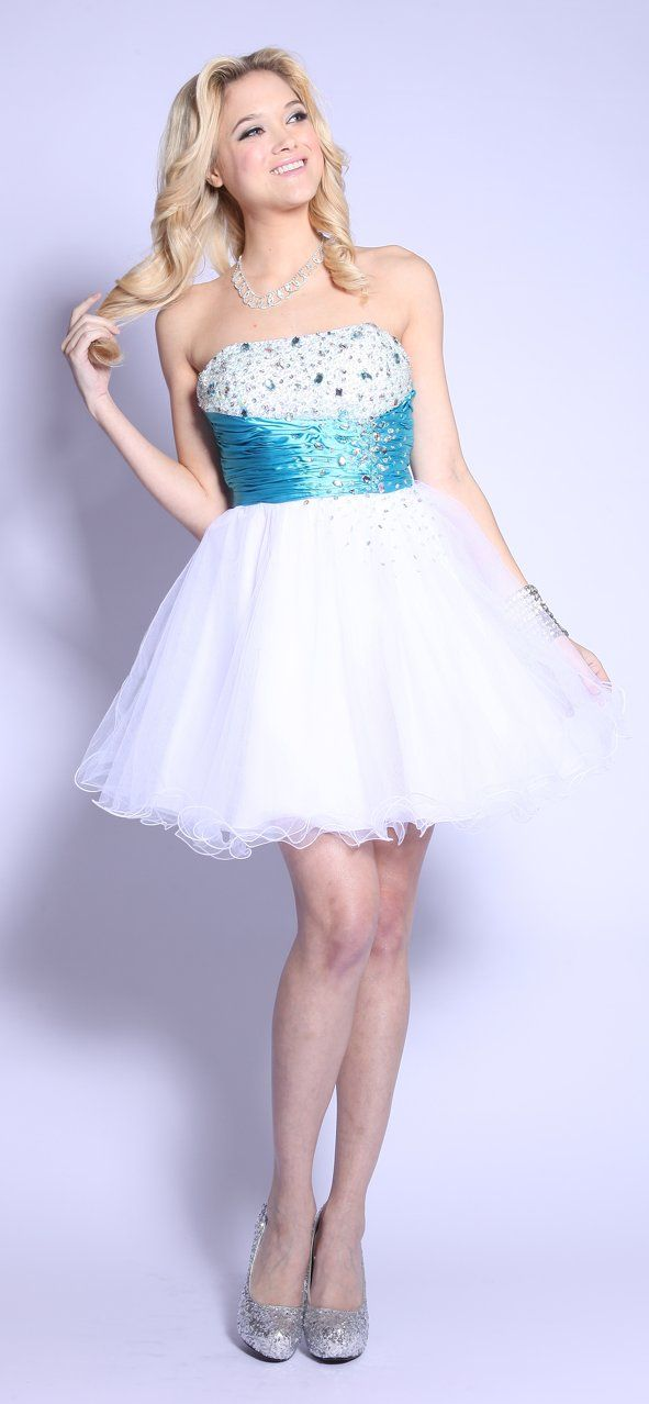 White Turquoise Prom Dress Short Tulle Strapless Empire Rhinestone $171.99