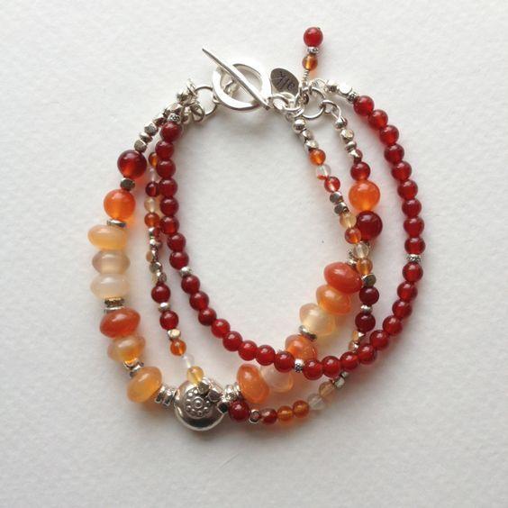 Carnelian and Hill Tribe Sterling Silver Triple Strand Bracelet. $75.00, via Etsy.: