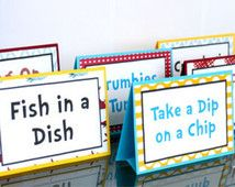 Dr Seuss Party Sign!  Dr Seuss food tents, party decor, birthday party, one I am, I am one, party supplies!!!