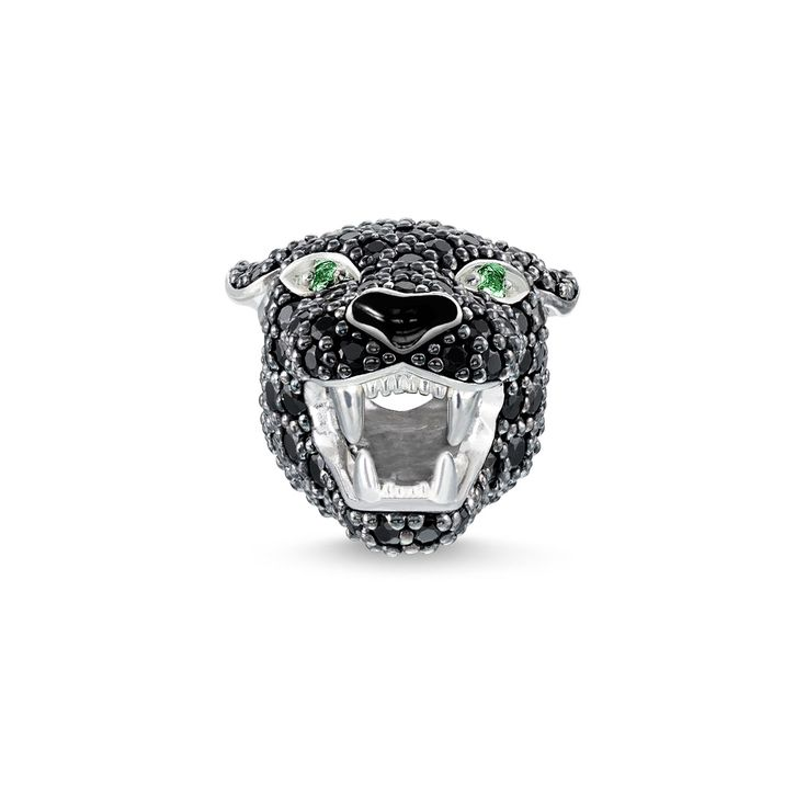 Thomas Sabo Women's 925 Sterling Silver Blackened Zirconia Malachite Green Simulated Frog Karma Beads eTH5dZu1