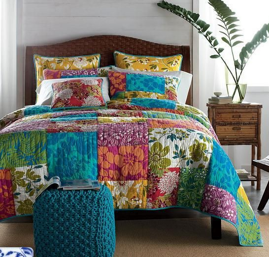 Free Shipping New Arrival Colorful Patchwork Quilt Handmade bedding set King Size US $148.00