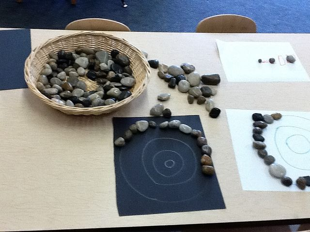 River Stones and designs/patterns-both teacher and child created designs/patterns on paper :-)