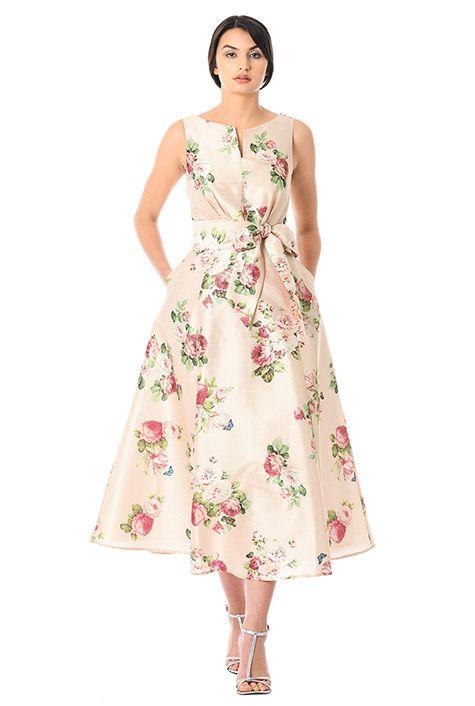 afa465051256 Rose print dupioni midi dress #eShakti | Floral Blooms | Dresses ...