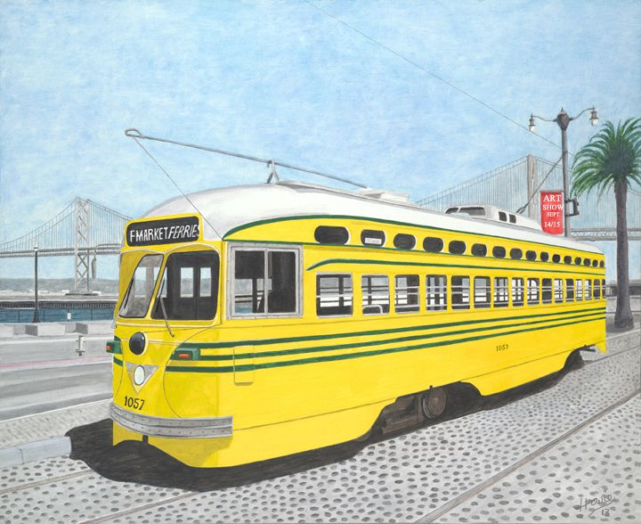 """Old Timer San Francisco Tramcar parked on Embarcadero with the Bay Bridge in the background. Medium: acrylic on 24"""" x 30"""" canvas."""