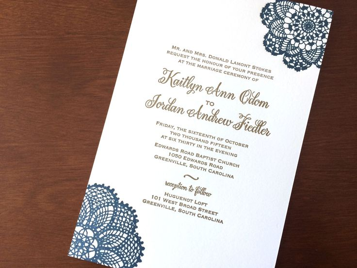 Navy And Antique Gold Letterpress Wedding Invitation With