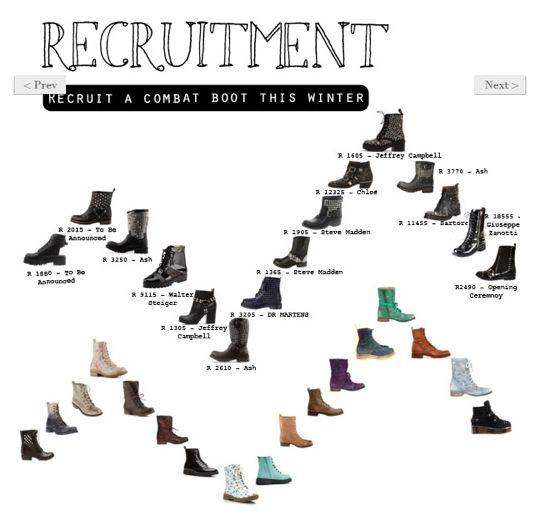 Editor's Pick: The Combat Boot. Read more in The Magazine > http://www.diligo.co.za/magazine/2013/04/19/editors-pick-the-combat-boot/
