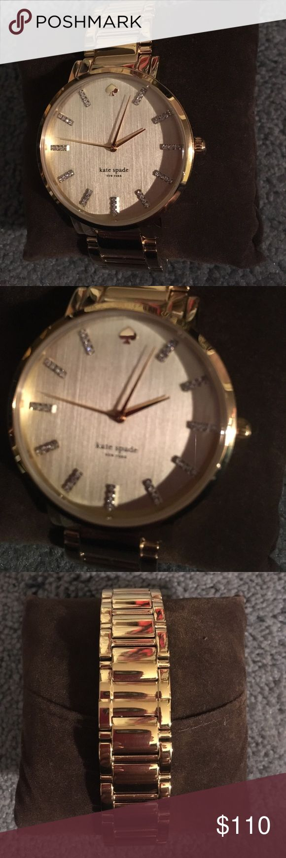 Kate Spade ♠️ gold watch Guaranteed authentic preowned gold with diamond numbers Kate Spade ♠️ watch.   Needs battery but still looks great. kate spade Accessories Watches