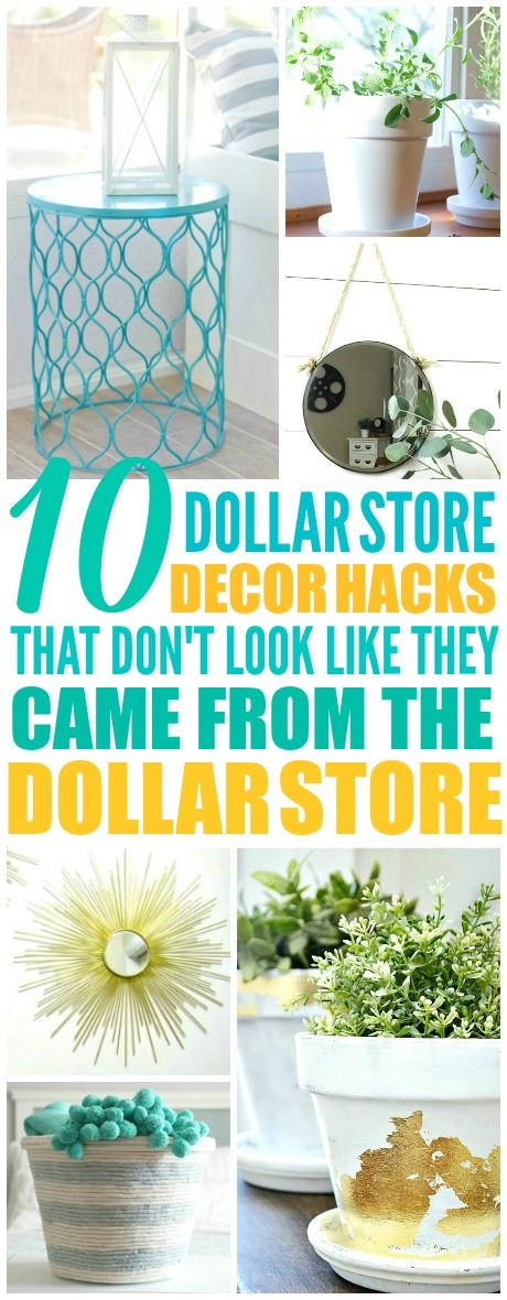 These 10 cheap and easy dollar store decor ideas are THE BEST! I'm so glad I found these GREAT tips! Now I have some great ways to decorate my home with the dollar store! Definitely pinning!