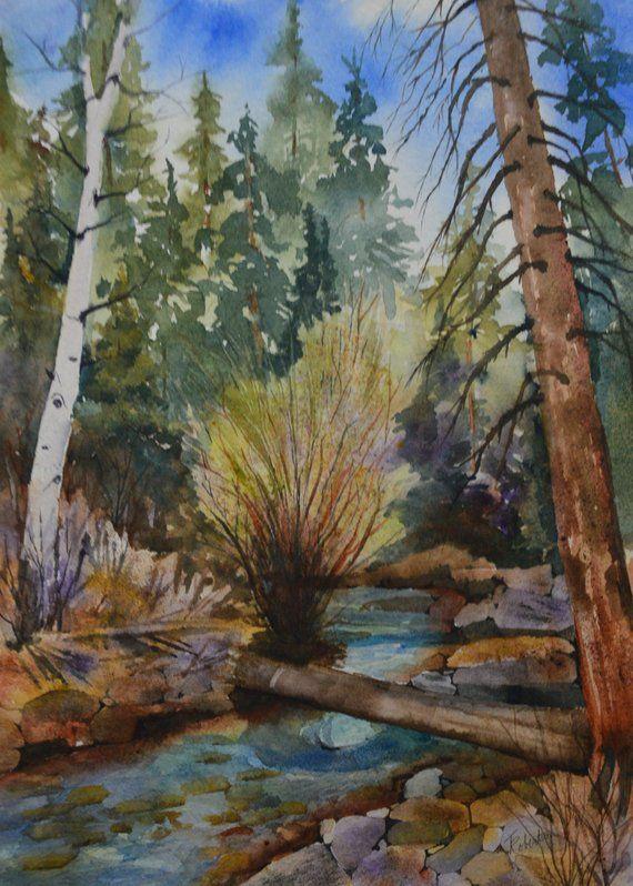 Original Watercolor Painting Landscape Mountain Art Cabin Decor Fine Art Watercolor Original Rustic De With Images Fine Art Landscape Landscape Paintings Landscape Artwork