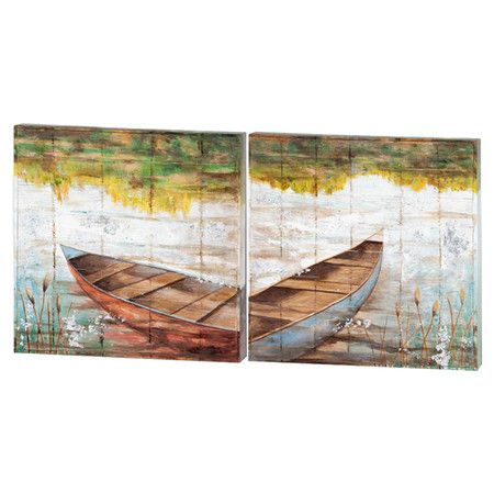 Bring a touch of charm to your living room or den with this lovely canvas print, showcasing a nature-inspired motif and 2 boats.   ...