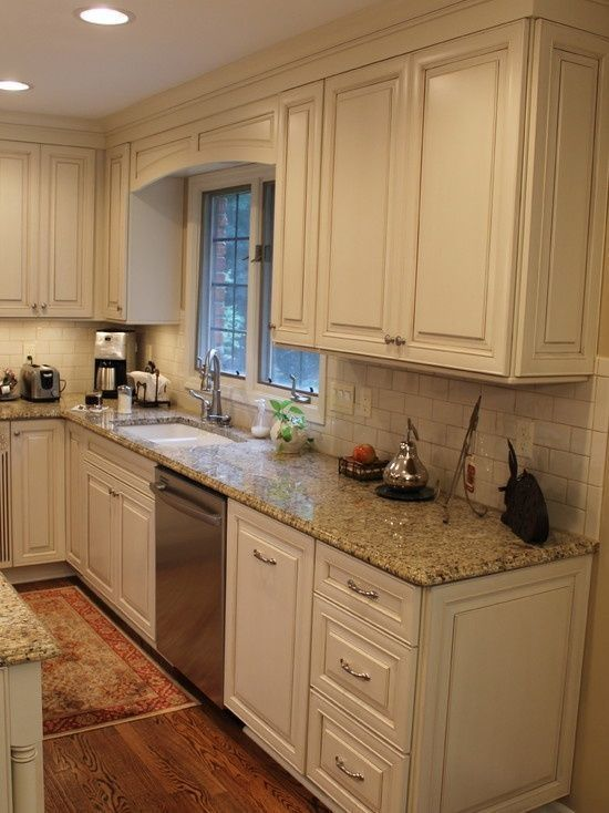 White Kitchen Cabinets With A Glaze Granite Counters And Subway Tile Back Splash Add Backsplash