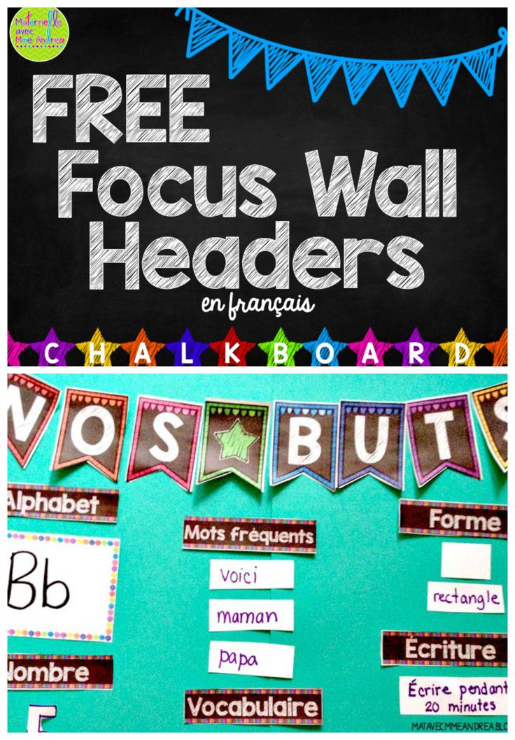 GRATUIT! Everything you need to create a Daily Focus Wall in your classroom, en français! Perfect for any elementary French classroom - 12 different headers to choose from to create what works for your class. Help your students and classroom visitors know what your class is working on at a glance! Chalkboard theme.