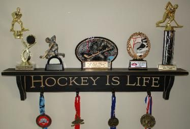 Hockey Shelves, Hockey Trophy Shelf, Painted Pastimes