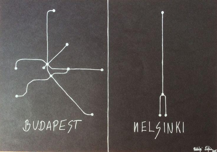 Metro - White gel pen drawing on black paper #metro #budapest #helsinki #underground #blackandwhite #blackpaperdrawing #whitegelpen #minimal #minimalism