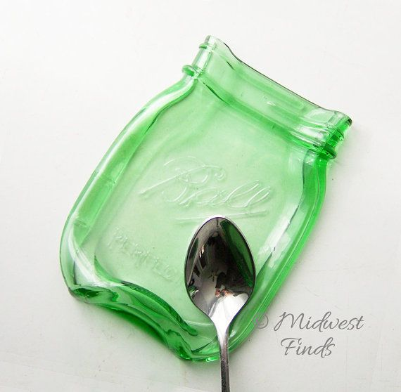Lime Green Melted Mason Jar spoon rest soap dish di MidwestFinds