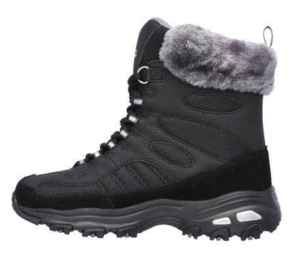 Skechers Women's D'lites Chalet Memory Foam Lace Up Winter Boots (Black/Charcoal)