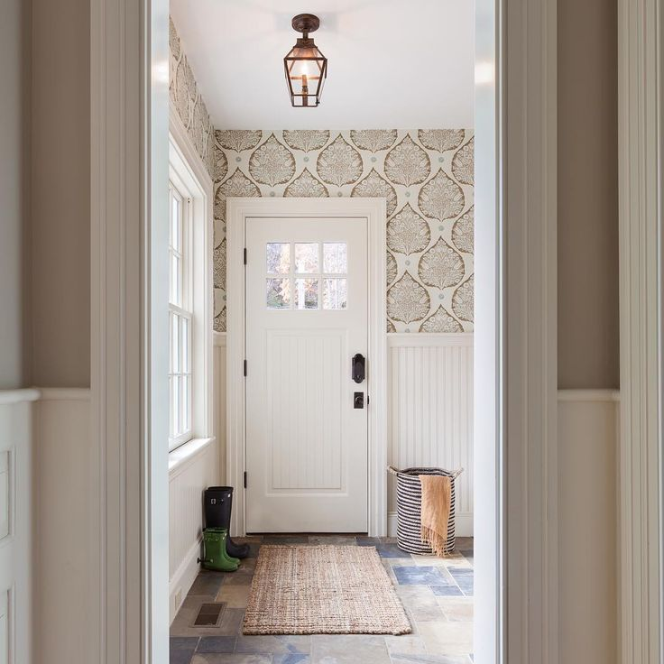 """I love this print - would be beautiful in the mudroom! """"Galbraith and Paul 'Lotus' wallpaper."""""""